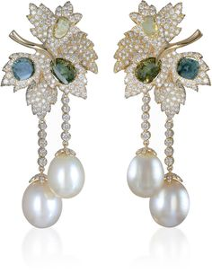 Farah Khan Fine Jewelry Pearl And Diamond Earrings - Inspired by nature, these 18K yellow gold earrings by Farah Khan feature a leaf shaped construction embellished with green, blue and white diamonds, from which emerge two delicate pearl drops.