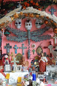 Casa Ramirez, a little folk art shop in Houston's Heights area, has the most amazing selection of Day of the Dead stuff, religious art, clothing, books and more. Coolest place to shop.