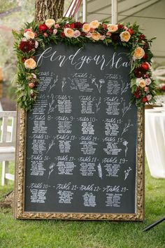 Adorable chalk board seating chart with doodles and a flower garden complete with peach garden roses