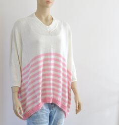 Boho Sweater/ Bulky Slouchy Oversized Sweater/ Loose Fit Sweater/ Ivory Pink Rose Quartz Hand Knitted Sweater/ Spring Summer Fashion USD) by reflectionsbyds Oversized Knit Cardigan, Slouchy Sweater, Loose Sweater, Cotton Sweater, Pink Sweater, Knitted Coat, Hand Knitted Sweaters, Plus Size Sweaters, Spring Trends