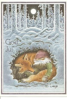 Swedish Christmas Card: gnome sleeping with a fox under the snowy forest... cute!