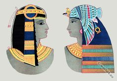 Ancient Egyptian costumes. Pharaoh crowns and headdresses.