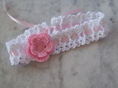 ribbon crochet headband with pink flower