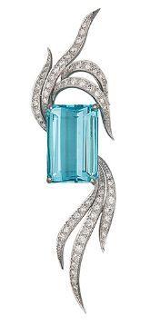 An Aquamarine and Diamond Brooch, circa 1950