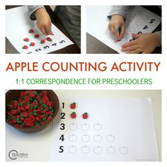 Practice 1:1 correspondence with this preschool counting activity for preschoolers. Simple hands-on math for early learning.