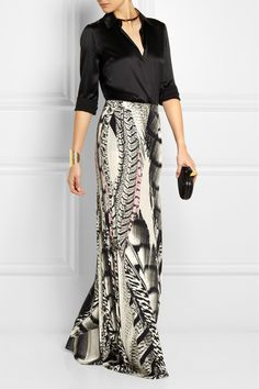 Roberto Cavalli | Embroidered tulle and silk-georgette maxi skirt ...