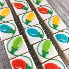 #sneakpeek I'm working on a fun #Christmas mini cookies idea tonight. These little guys are less than 2inches wide, and when bagged together, look like a connected strain of Christmas lights! Easy tutorial and template will be posted on the blog in a few days. #royalicing #cookiedecorating #decoratedcookies #christmaslights #customcookies #minicookies #merryandbright