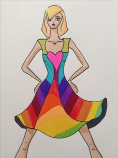 Flippy rainbow dress by Kelsey Lovelle