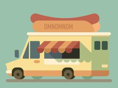 Omnomnom Truck by Alexey Kuvaldin Flat Design Illustration, Graphic Illustration, Motion Design, Design Thinking, Photomontage, Minimal Drawings, Truck Art, Vector Design, Design Design