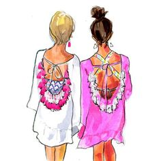 athingcreatedblog:  …aaand I couldn't resist one more @sundress_official sketch after perusing their adorable Instagram feed. How cute is this #twinning by @cmcoving?