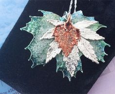 Real Leaf Jewelry, Amazon Emerald Maple Leaf, Silver Japanese Maple, Copper Birch Leaves custom pendant with silver chain