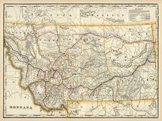 Montana, historical map from 1901. Historical Maps, Pigment Ink, Vintage World Maps, Montana, Office Decor, Rivers, Roads, Canon, Cities