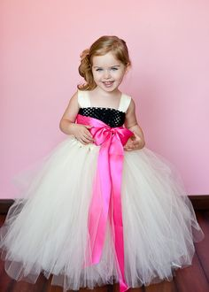 Flower Girl Tutu Dress in Ivory and Black by TheLittlePeaBoutique, $105.00 all ivory with a peach or lavender sash??