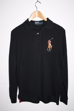 Polo by Ralph Lauren Men's Black Long Sleeve Jumper Embroidered Large Logo M