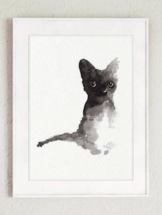 Black Cat Illustration Large Poster Cat Artwork by ColorWatercolor  #cat #watercolor #painting