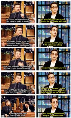 Robert Downey Jr and Jeremy Renner, this is the cutest thing to ever exist.
