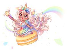 [+Video] Commission - Unicorn Rainbow by Hyanna-Natsu on DeviantArt Cute Anime Chibi, Anime Fnaf, Kawaii Chibi, Kawaii Art, Kawaii Anime, Chibi Unicorn, Cute Unicorn, Chibi Girl Drawings, Cute Kawaii Drawings