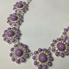 Lavender bib statement necklace Big statement necklace with lavender and opalescent stones. Adjustable lobster claw closure. Jewelry Necklaces