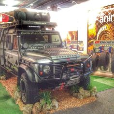 """jamieonline: """"The battle truck is all set up on the BFGoodrich stand at the National 4x4 & outdoor show in Brisbane having the first set of KO2 tyres on the truck in the country. #bfg #defender..."""