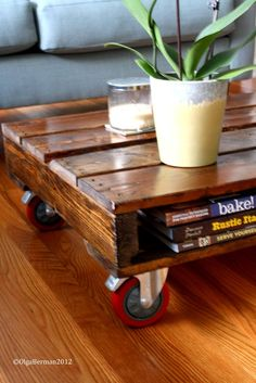 I think I would do something different for the legs.    DIY: Make Your Own Pallet Coffee Table - great for outdoor patio or putting potted plants so they can be moved around easily. Tis would be great outside especially with casters on so they are movable
