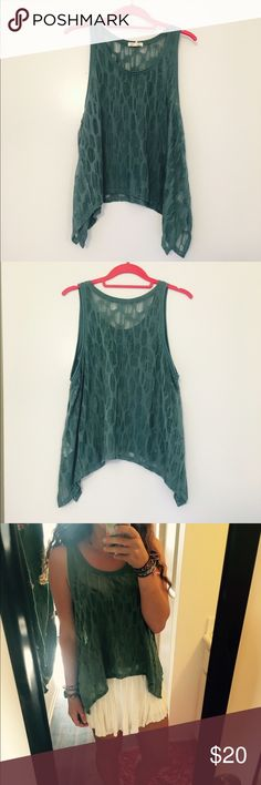 Shredded mossy green tank top Worn once, great for layering, super comfy Urban Outfitters Tops Tank Tops