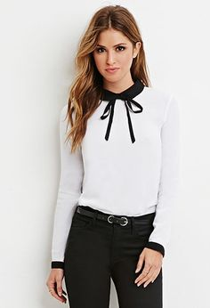 Contrast Peter Pan Collar Blouse | Forever 21 - 2000158283