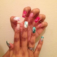 I was torn between National Girl Scout Cookie Weekend & Valentine's Day so I did both!  #NailArt