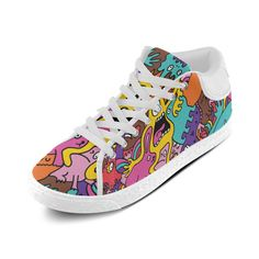 Cool Monsters Pattern Popular Design Custom Chukka Canvas Shoes for Women(Model003)