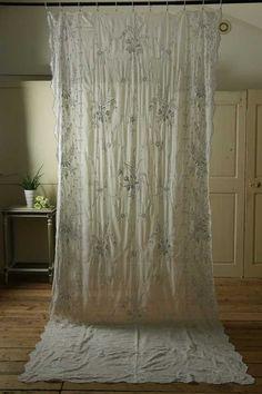 アンティーク オーガンジーレースカーテン(フルール)  French Vintage Organdy Lace Curtain