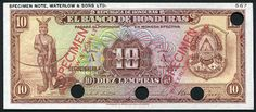 """Currency of Honduras 10 Lempiras banknote of 1932, El Banco de Honduras.  Honduran Lempira, Billetes de Honduras, Honduras banknotes, Honduras paper money, Honduran banknotes, Honduran paper money, Lempira Hondureño.  Obverse: Legendary Indian Chief and Warrior Lempira. His name means """"Lord of the Mountains"""" or """"Lord of the Sierra."""" Lempira is the first national hero of Honduras. Reverse: Banco de Honduras building in Tegucigalpa. Printed by Waterlow and Sons Limited, London England"""