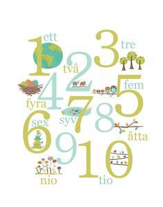 ett; två; tre; fyra; fem; sex; sju; åtta; nio; tio = 1 t/m 10  (et, twooh, trie, fura, fem, seks, chu (met zachte 'g') otta, nio, tio)
