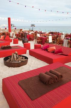 Wedding #Lounges with bonfires, #string lights and chic daybeds.