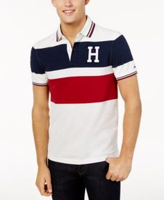 129d996af10 Tommy Hilfiger Men s Custom-Fit Logo Colorblocked Polo - White S