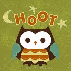 33R Retro Owl Hoot 6x6 Print