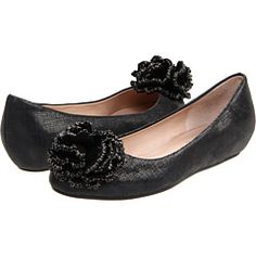 juicy couture black linen glazed leather/black suede flats from couture.zappos.com