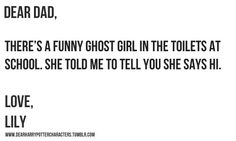 Lily Potter (Harry's kid, not mom, FYI. Also, the ghost is Myrtle. This is for all you non-potterheads)