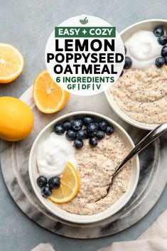 Recipes Breakfast Oatmeal This Lemon Poppyseed Oatmeal is made with hearty steel cut oats, non-dairy milk, lemon juice, and poppy seeds for a naturally creamy and filling breakfast! The Oatmeal, Vegan Oatmeal, Baked Oatmeal, Oatmeal Bars, Baked Oats, Whole Food Recipes, Cooking Recipes, Oats Recipes, Beef Recipes