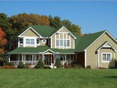 Best Green Metal Roof Tan Mocha Paint With White Trim Red 400 x 300