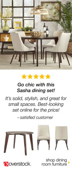 Find the perfect dining set for your space at Overstock.com. Shop our selection of dining room furniture by size, material, color, and style to find the best fit at the lowest price. Plus, enjoy free shipping and easy returns. Overstock.com -- All things home. All for less.