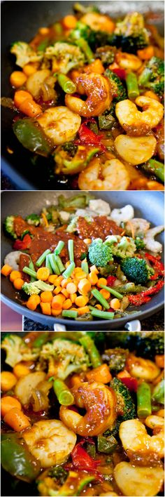 Szechuan Shrimp Stir Fry with Fried Rice (GF) - Packed with flavor, healthy & so easy to make! Only  15 minutes to make !!