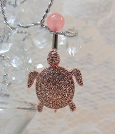 Belly ring rose gold turtle, bellybutton ring cubic zirconia turtle14g   YOUniqueDZigns - Jewelry on ArtFire