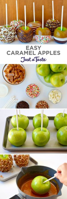Easy Caramel Apples recipe Customize this classic fall dessert with melted chocolate, chopped nuts, sprinkles and more! Weight Watcher Desserts, Fall Recipes, Holiday Recipes, Easy Fall Treats Recipes, Easy Fall Deserts, Autumn Recipes Baking, Easy Party Recipes, Autumn Desserts, Baking Ideas