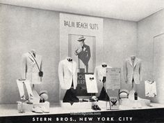 Actual New York store display featuring a mess jacket and white dinner jacket made of Palm Beach material.