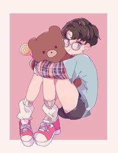 Cr. Rinma_na Anime W, Anime Guys, Exo Fan Art, Anime Child, Cute Art Styles, Dibujos Cute, Estilo Anime, Kpop Fanart, Art Reference Poses
