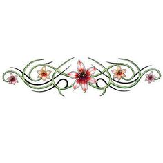 Red Lily Flowers Tattoo Design for the Lower Back or Armband - TattooWoo.com