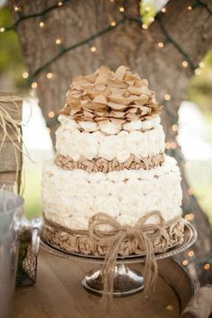 Tissue Paper Cake. Country Rustic Wedding