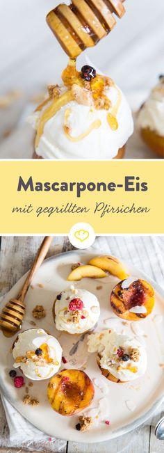 Eis ist nicht gleich Eis. Mascarpone ist nicht nur cremiger, sondern schmeckt mit Granola und karamellisierten Pfirsichen gleich doppelt so gut.