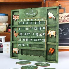 Nostalgia Rural Style Wood bilingual DIY perpetual calendar Wall Hanging Home Decor