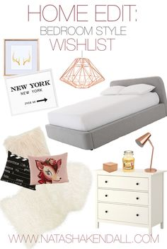 HOME EDIT: Copper and White Bedroom Decor Wishlist | Natasha Kendall | Beauty and Lifestyle Blog, BBLOGGER, House Decor, Copper Lamp, Cushions, Sheepskin Rug, Ikea Sheepskin Rug, Grey Bed, Copper Lampshade, Geometric Decor, LBLOGGER, Lifestyle Blogger | visit www.natashakendall.com