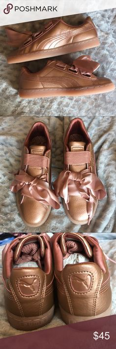 Free People Basket Heart Copper Rose Pumas Brand new in the box! Size 8 copper rose (rose gold) Pumas with beautiful ribbon laces or classic wide pink laces. Leather upper, rubber outsole. Very unique and stylish! Purchased from Free People, retail $90. Reasonable offers are considered! Comment with any questions 💕 Puma Shoes Sneakers